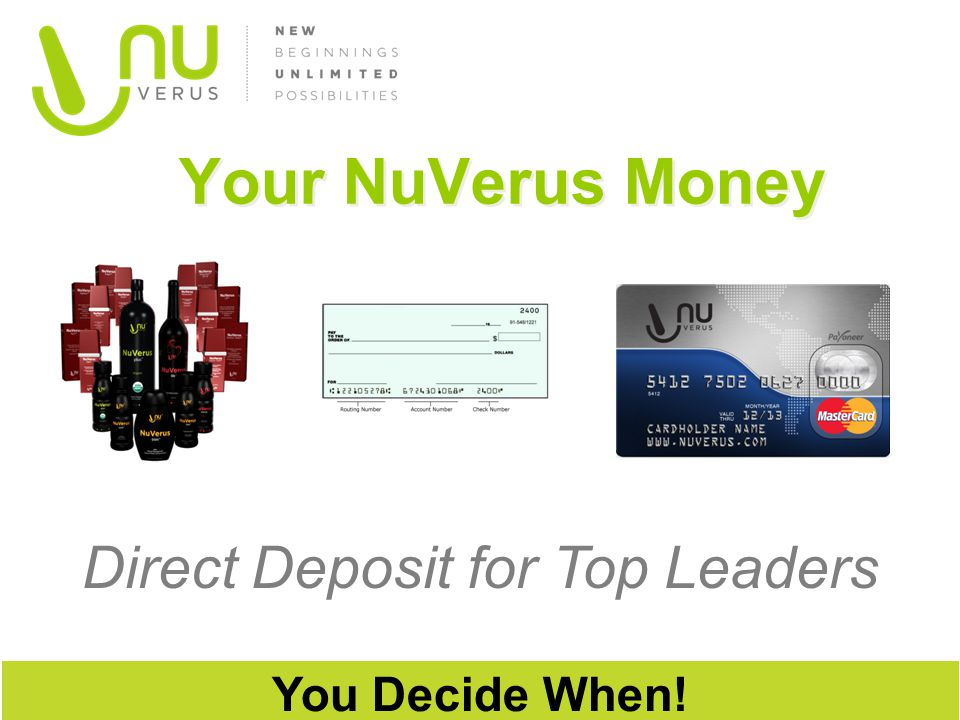 Direct Deposit for Top Leaders