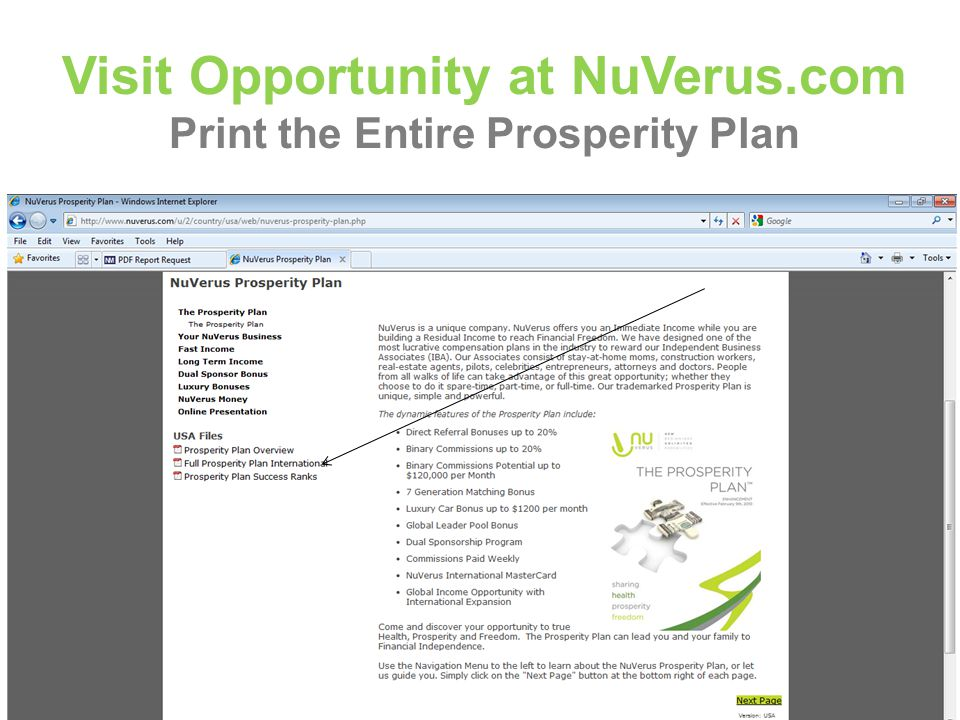 Visit Opportunity at NuVerus.com Print the Entire Prosperity Plan