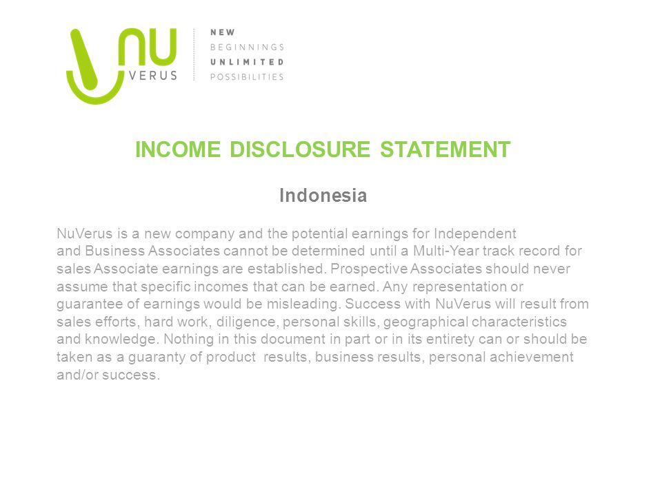 Indonesia INCOME DISCLOSURE STATEMENT
