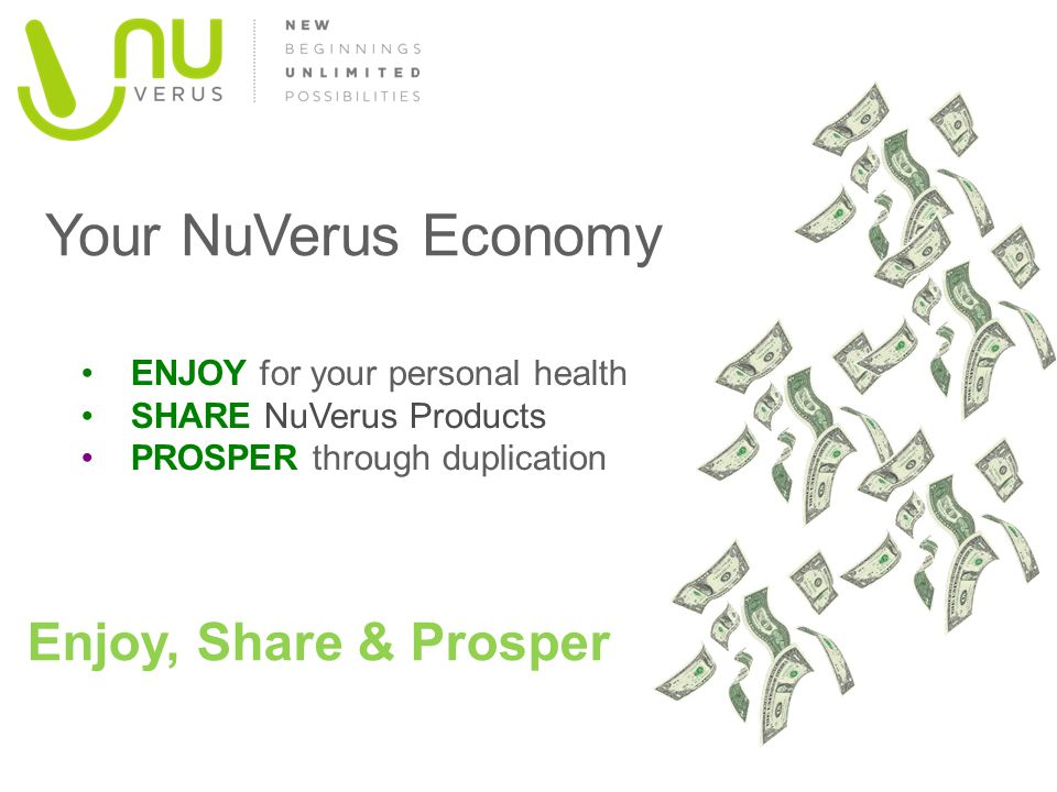 Your NuVerus Economy Enjoy, Share & Prosper