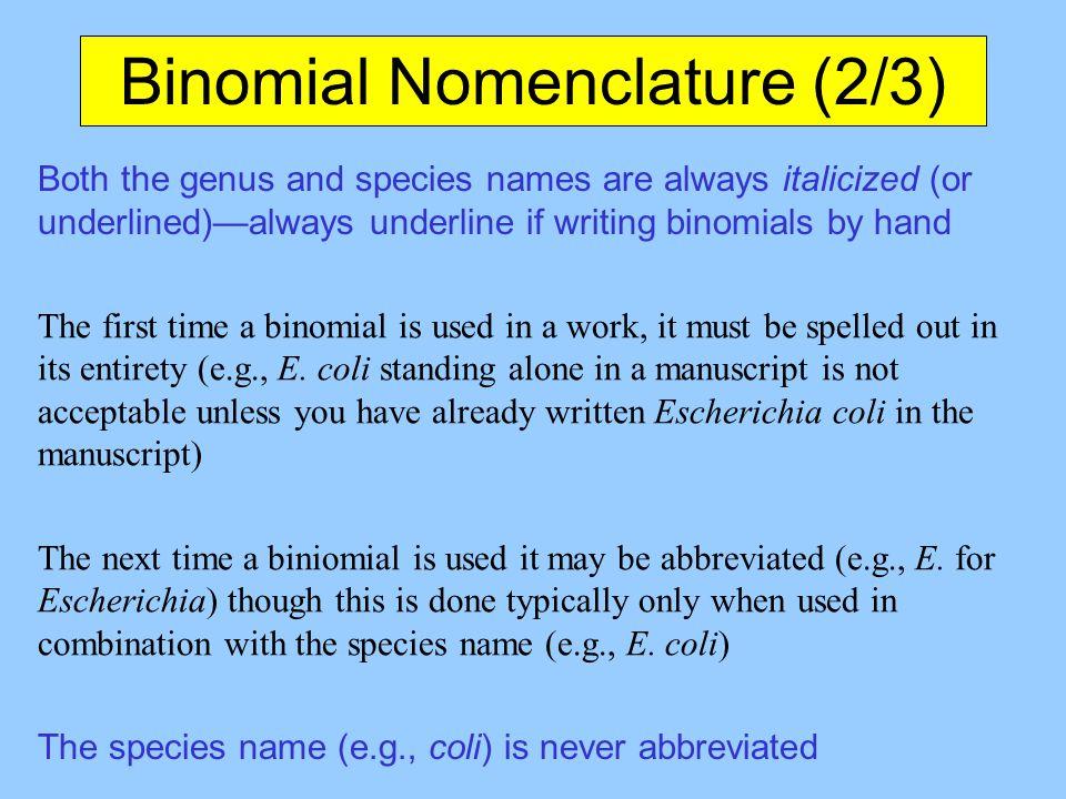 Binomial Nomenclature (2/3)