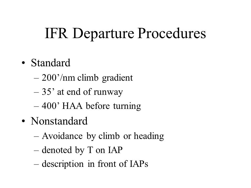 IFR Departure Procedures