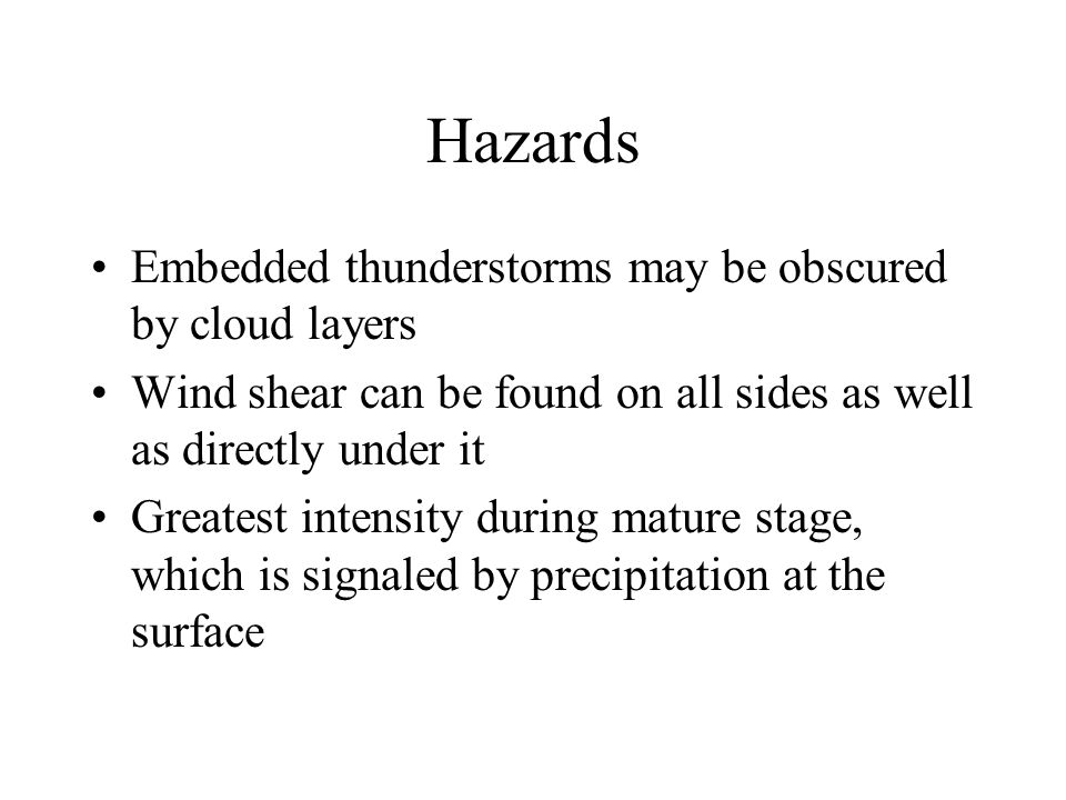 Hazards Embedded thunderstorms may be obscured by cloud layers