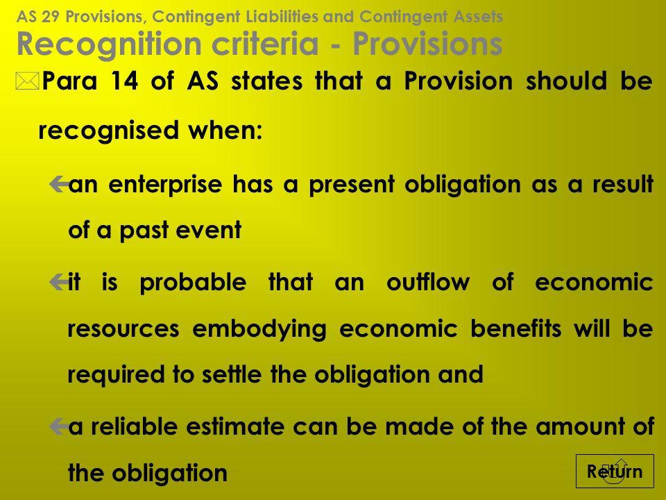 Recognition criteria - Provisions