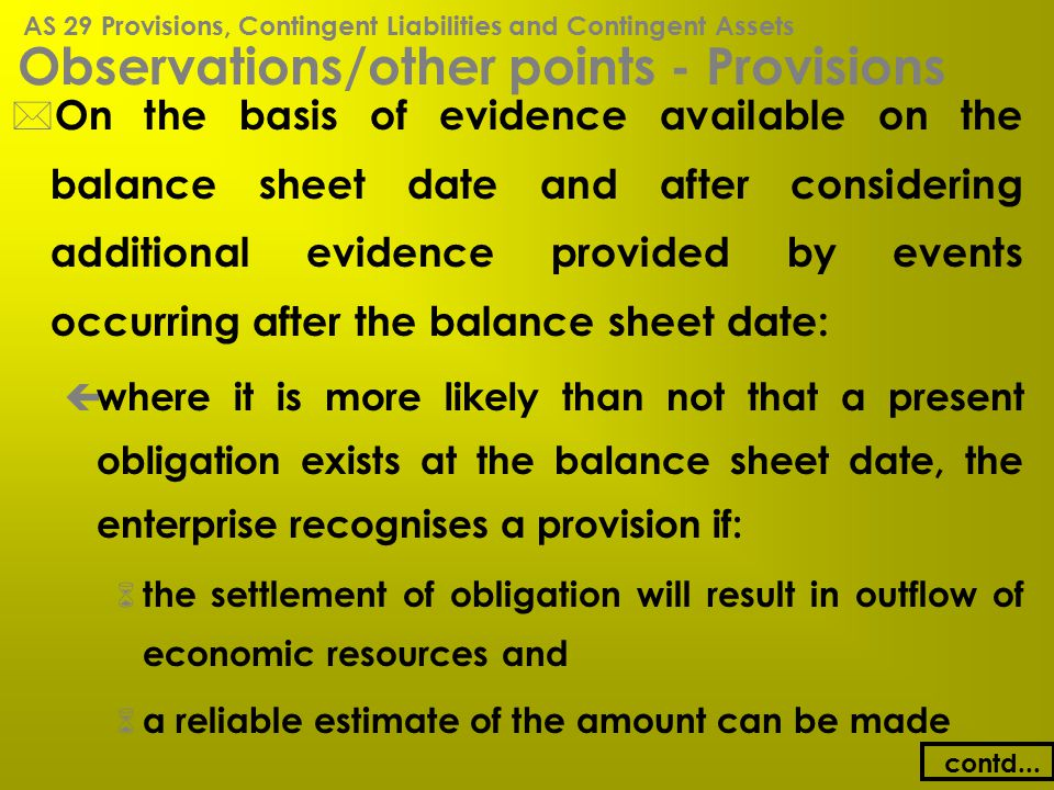 Observations/other points - Provisions