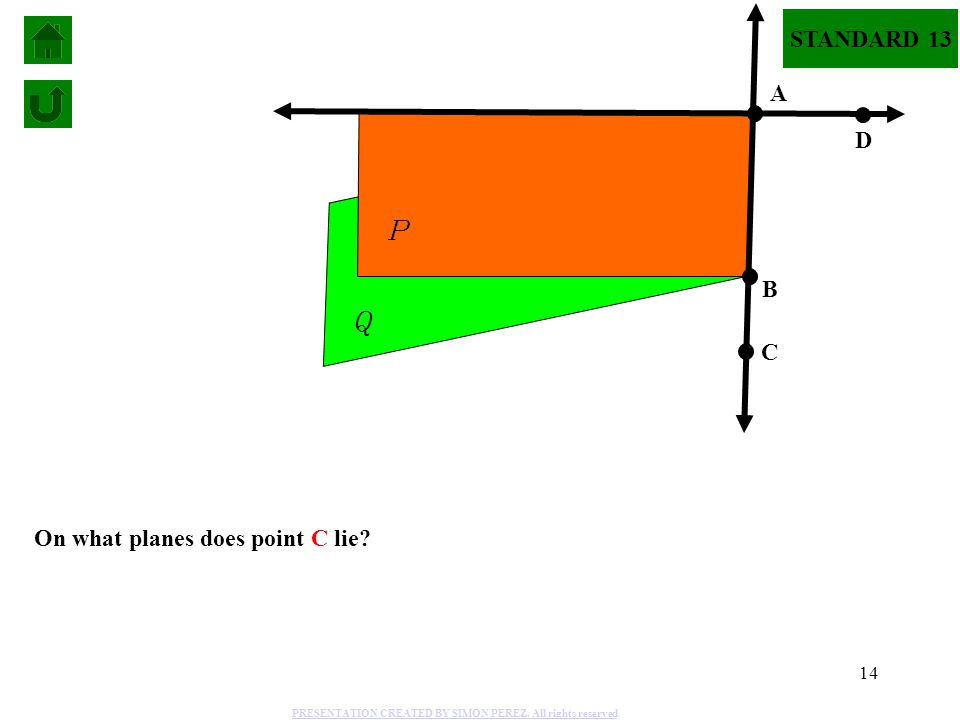 P Q STANDARD 13 A D B C On what planes does point C lie