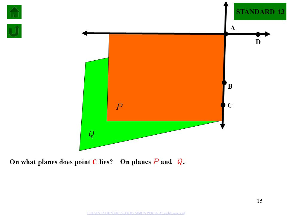 P Q STANDARD 13 A D B C On what planes does point C lies