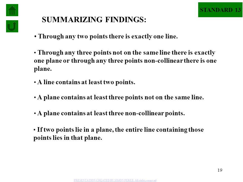 SUMMARIZING FINDINGS: