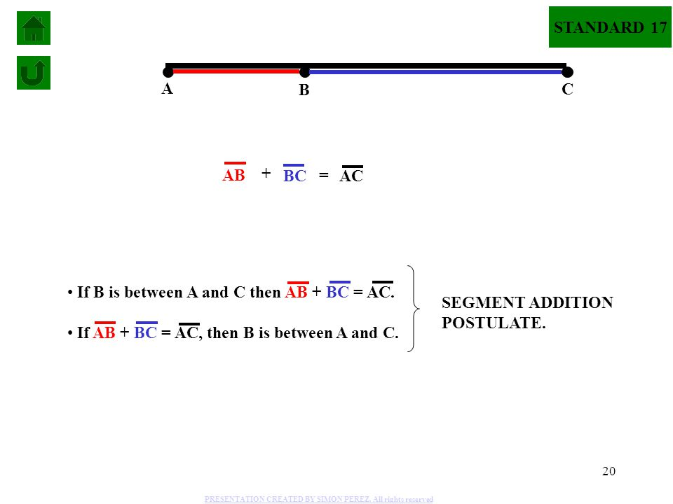 SEGMENT ADDITION POSTULATE. If B is between A and C then AB + BC = AC.