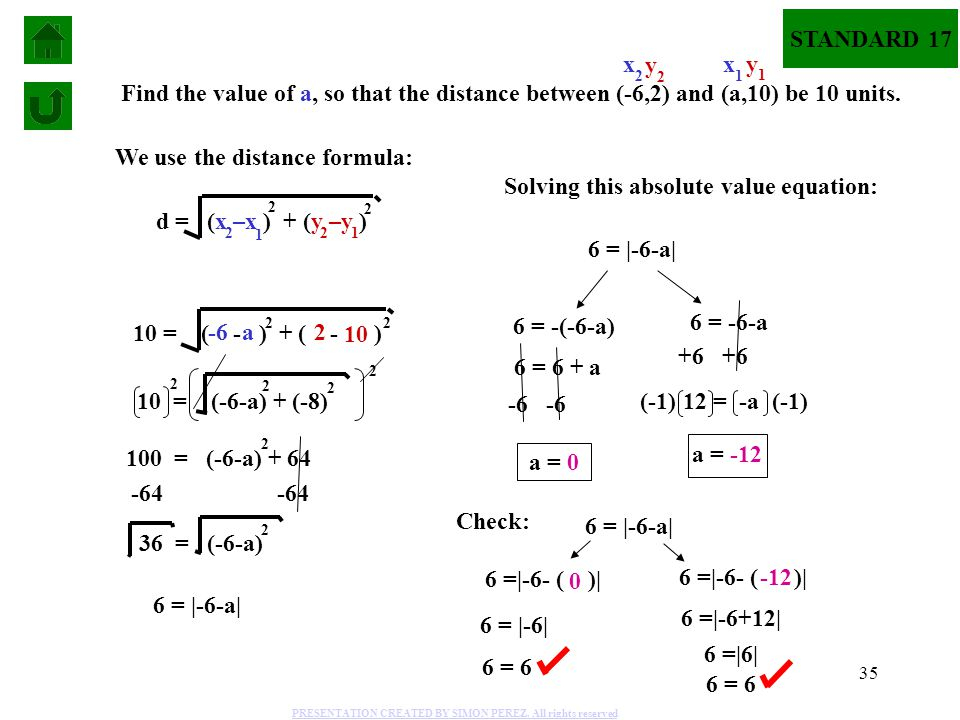 We use the distance formula: Solving this absolute value equation: