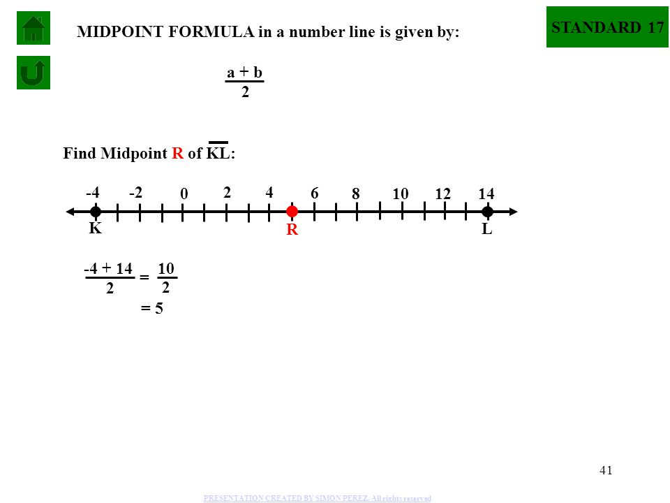 MIDPOINT FORMULA in a number line is given by: