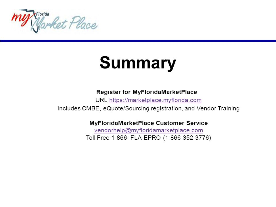 Summary Register for MyFloridaMarketPlace