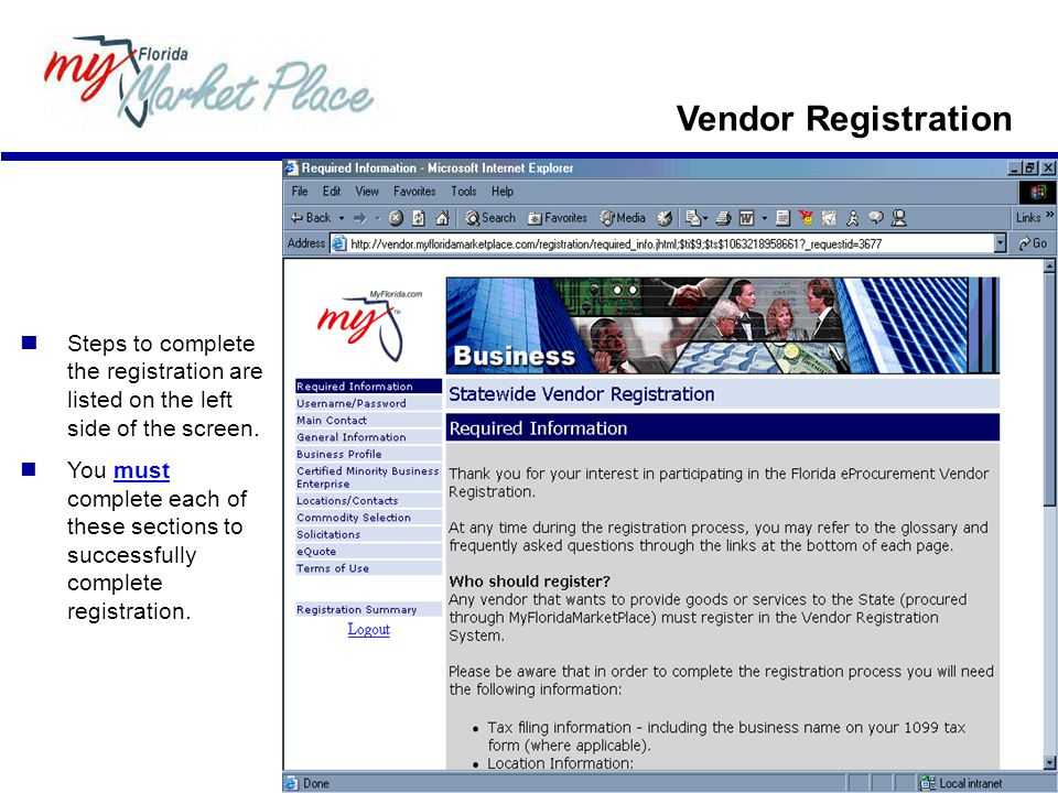 Vendor Registration  Steps to complete the registration are listed on the left side of the screen.