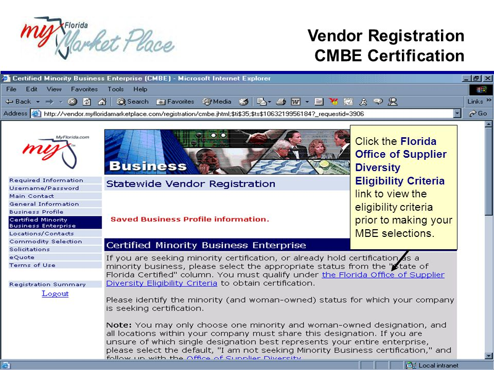 Vendor Registration CMBE Certification