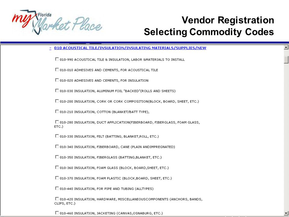 Vendor Registration Selecting Commodity Codes