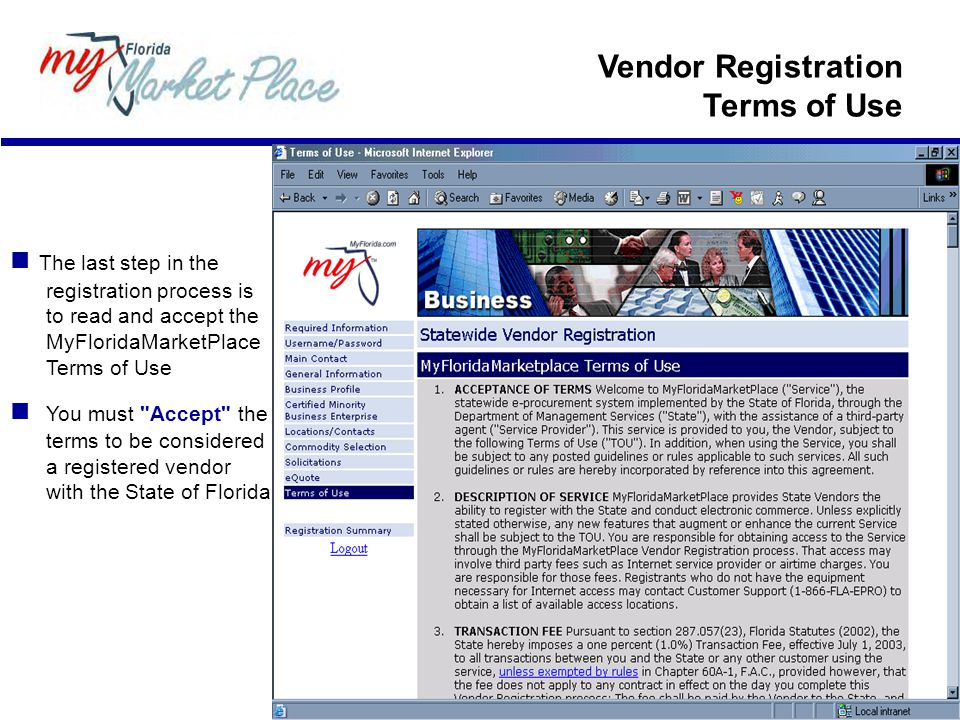 Vendor Registration Terms of Use