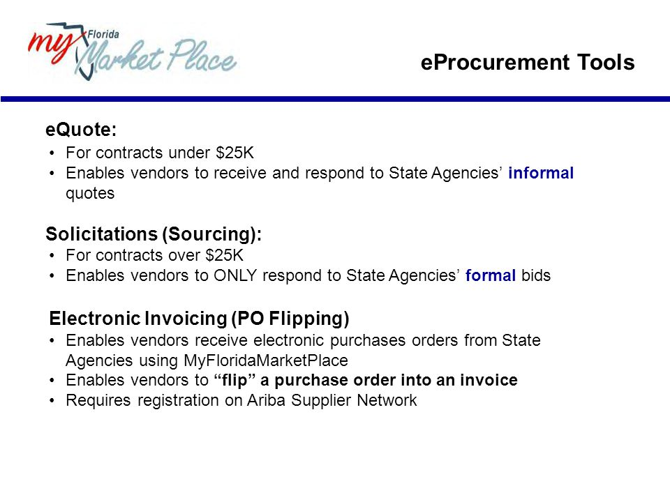 eProcurement Tools eQuote: Solicitations (Sourcing):