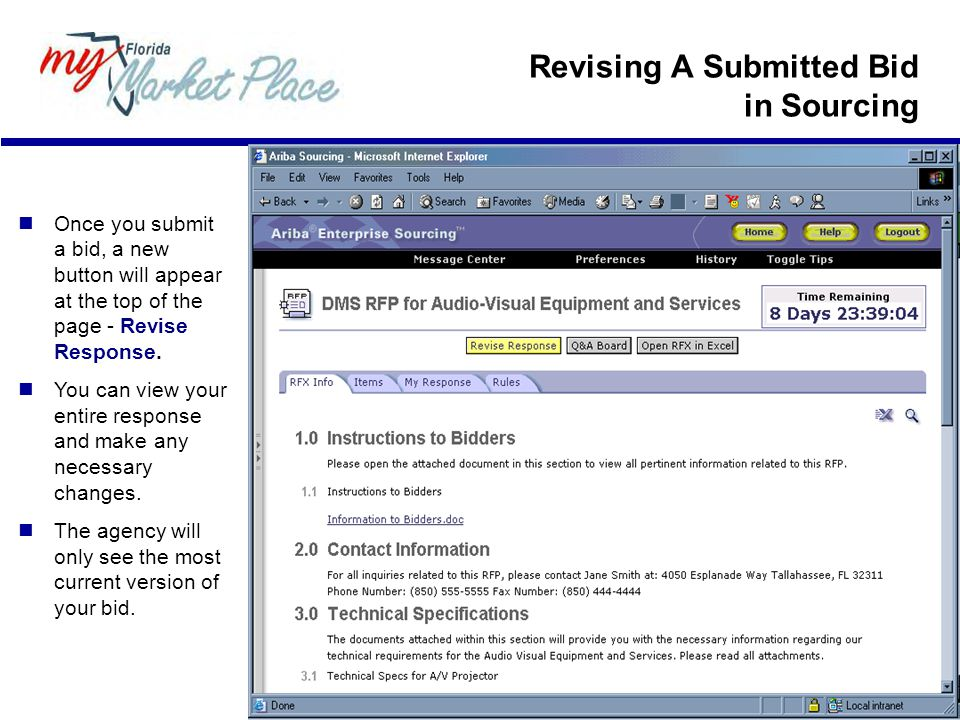 Revising A Submitted Bid in Sourcing