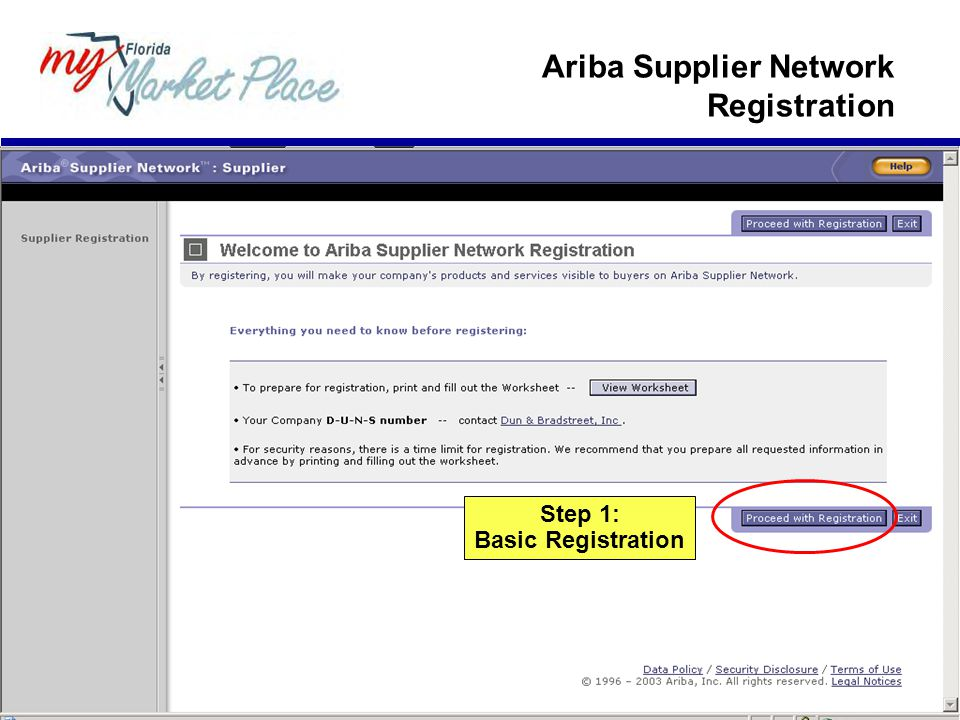 Step 1: Basic Registration