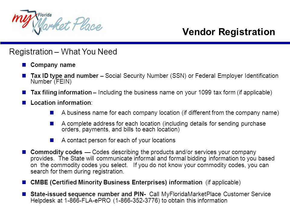 Vendor Registration Registration – What You Need Company name