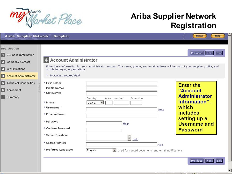 Ariba Supplier Network Registration
