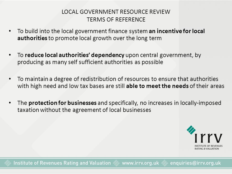 LOCAL GOVERNMENT RESOURCE REVIEW TERMS OF REFERENCE