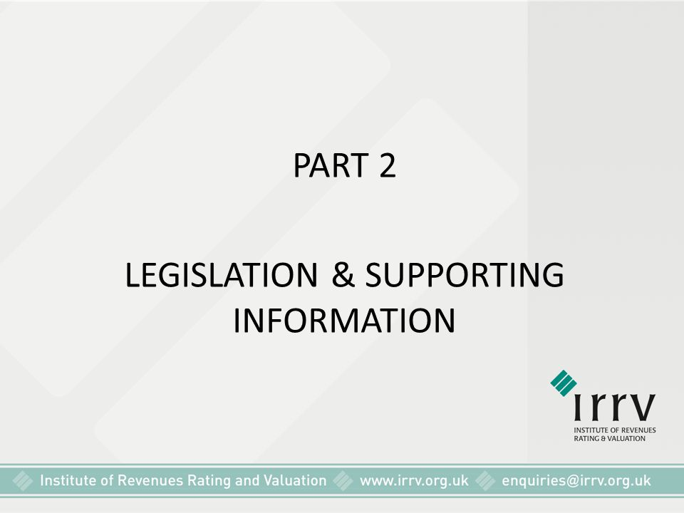 LEGISLATION & SUPPORTING INFORMATION