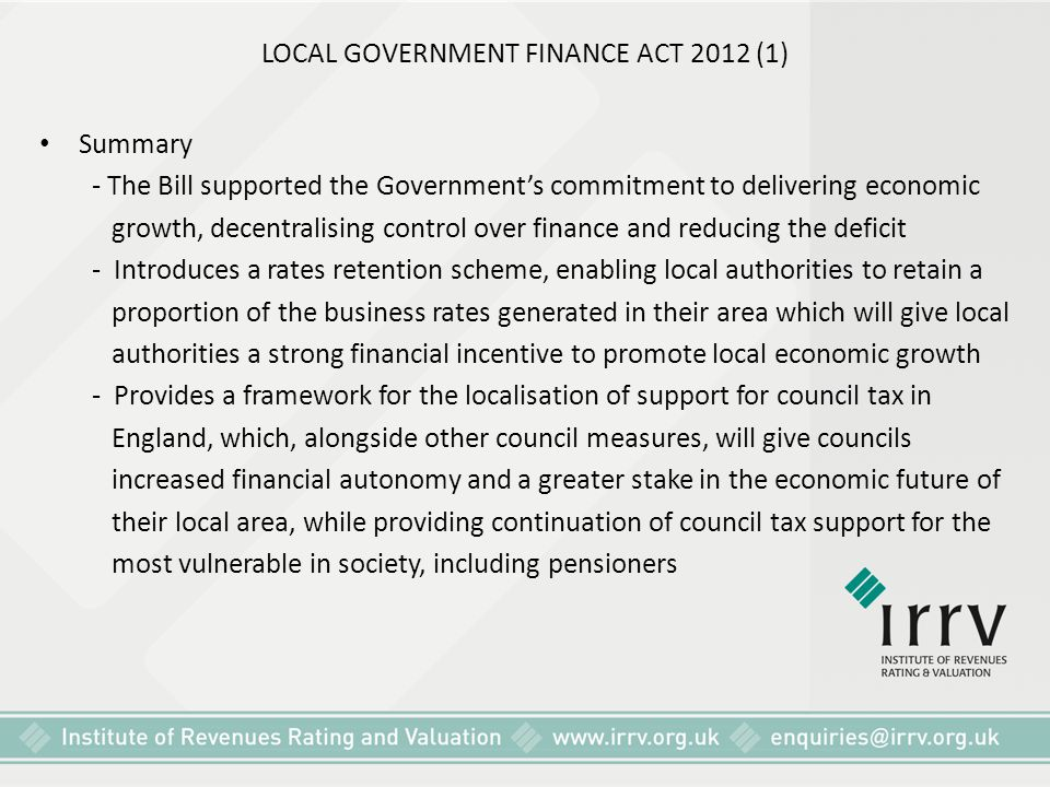 LOCAL GOVERNMENT FINANCE ACT 2012 (1)