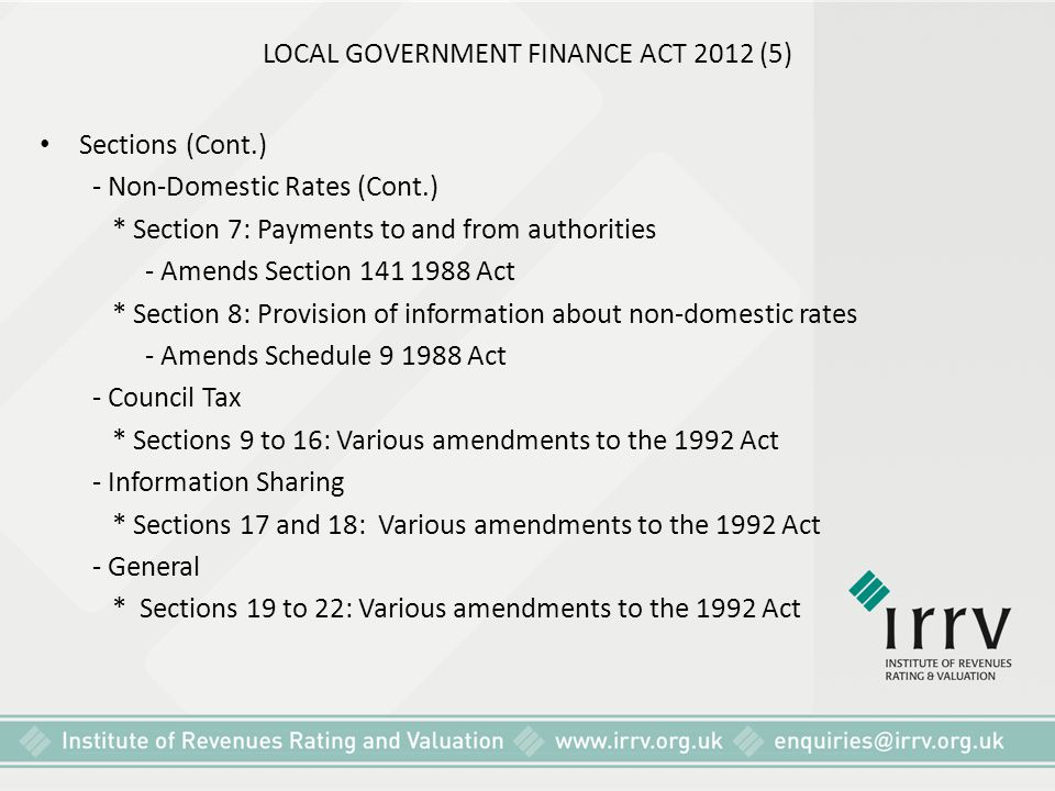 LOCAL GOVERNMENT FINANCE ACT 2012 (5)