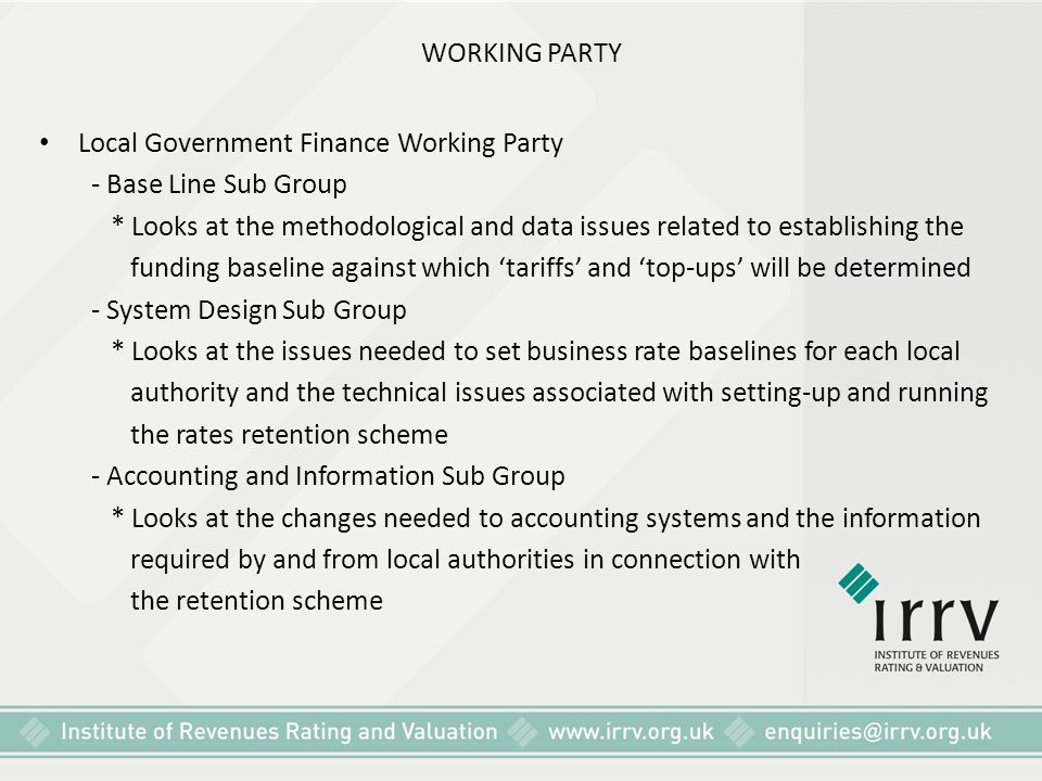 WORKING PARTY Local Government Finance Working Party. - Base Line Sub Group.