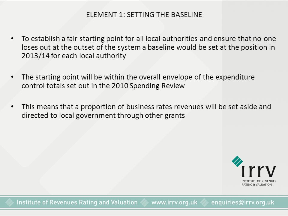 ELEMENT 1: SETTING THE BASELINE