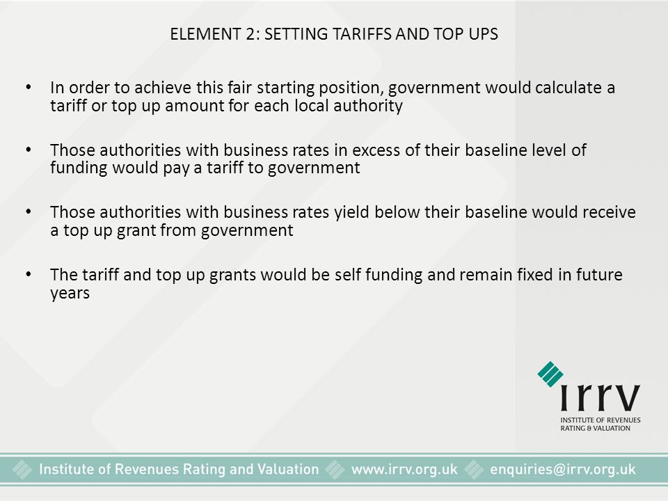 ELEMENT 2: SETTING TARIFFS AND TOP UPS