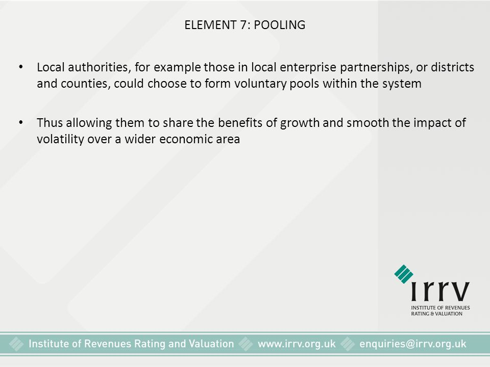 ELEMENT 7: POOLING