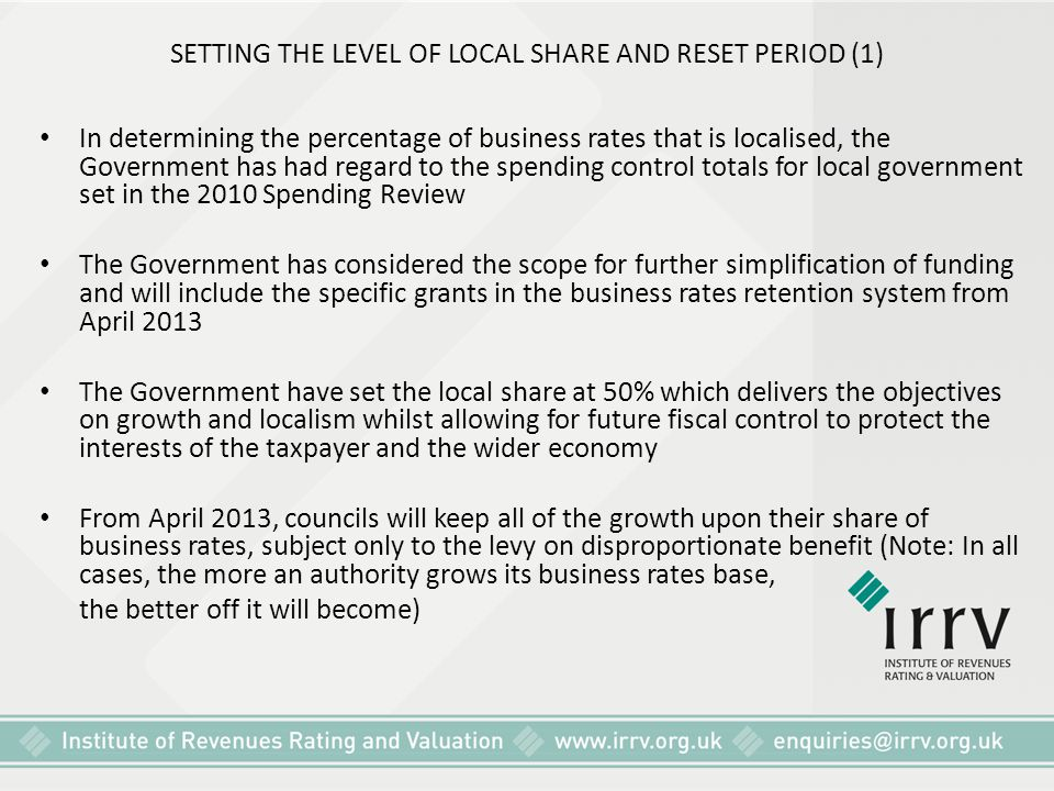 SETTING THE LEVEL OF LOCAL SHARE AND RESET PERIOD (1)