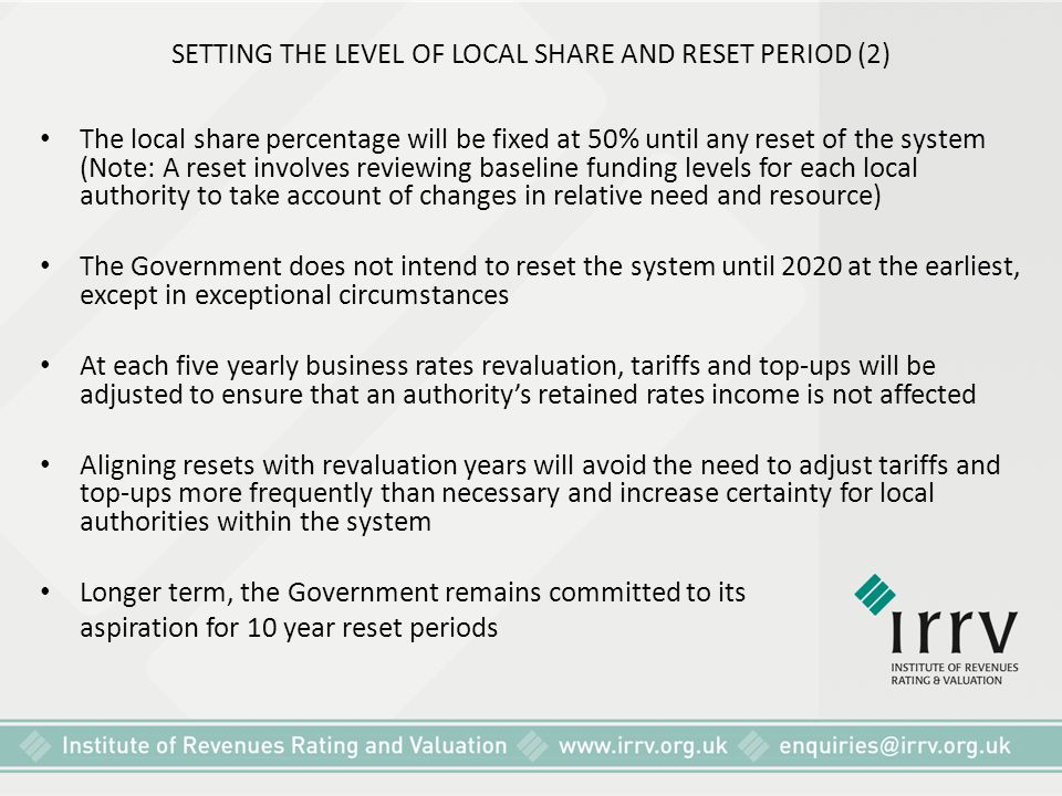 SETTING THE LEVEL OF LOCAL SHARE AND RESET PERIOD (2)