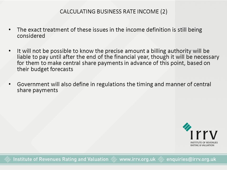 CALCULATING BUSINESS RATE INCOME (2)