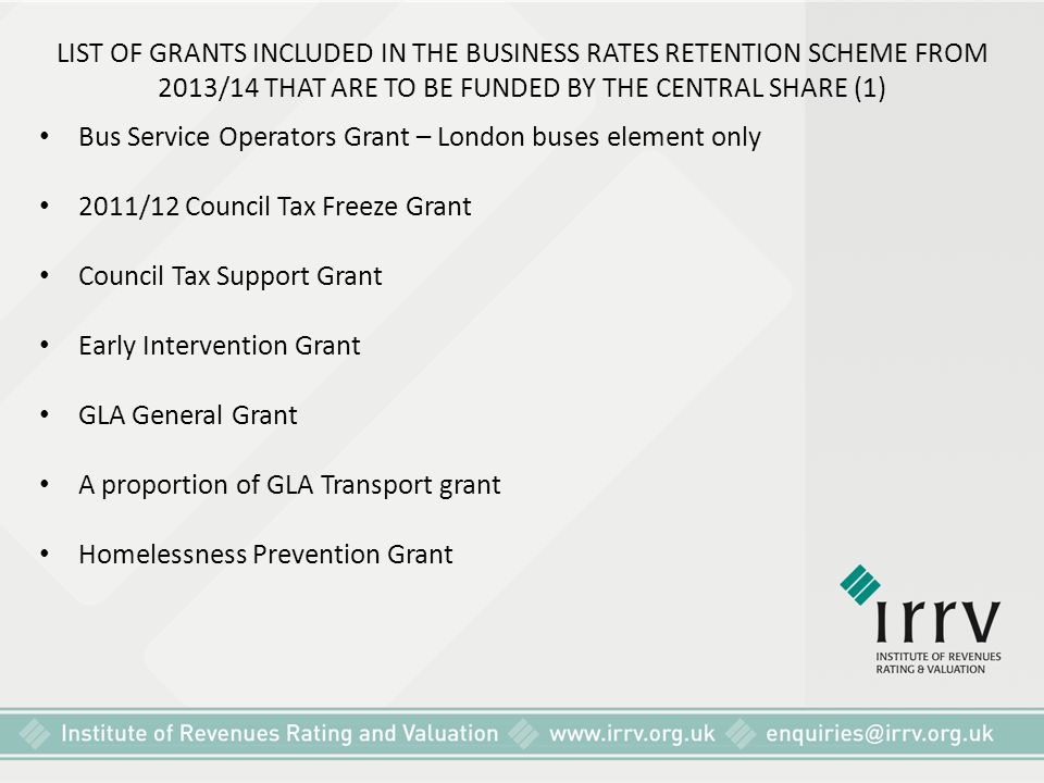 LIST OF GRANTS INCLUDED IN THE BUSINESS RATES RETENTION SCHEME FROM 2013/14 THAT ARE TO BE FUNDED BY THE CENTRAL SHARE (1)