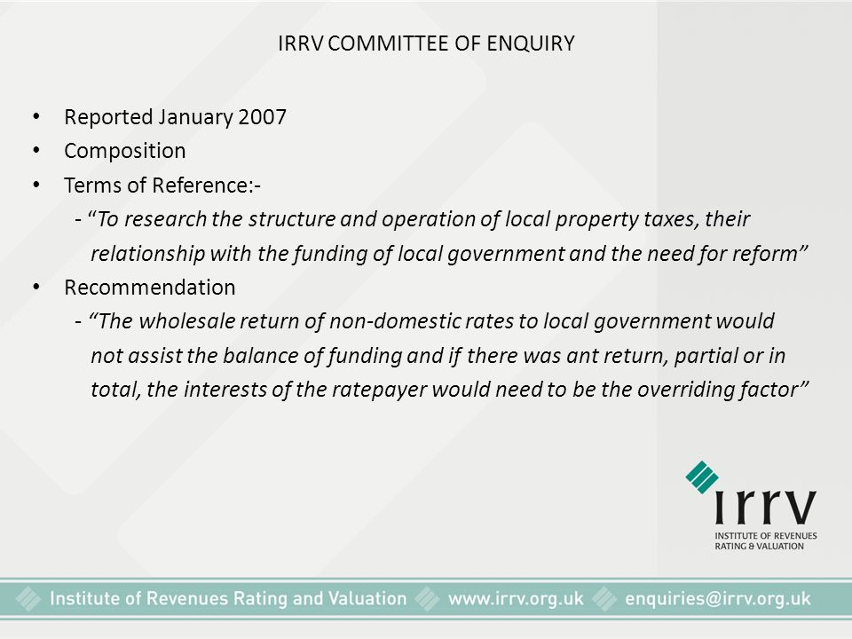 IRRV COMMITTEE OF ENQUIRY