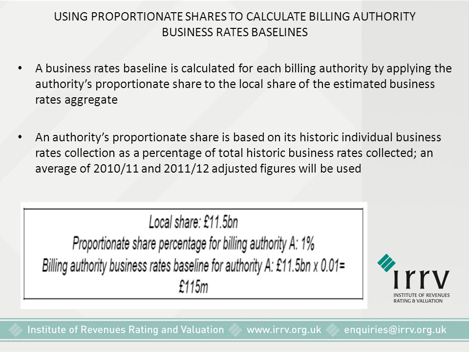 USING PROPORTIONATE SHARES TO CALCULATE BILLING AUTHORITY BUSINESS RATES BASELINES