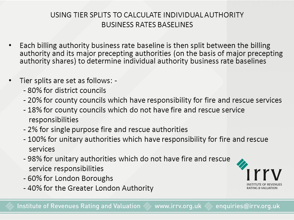 USING TIER SPLITS TO CALCULATE INDIVIDUAL AUTHORITY BUSINESS RATES BASELINES
