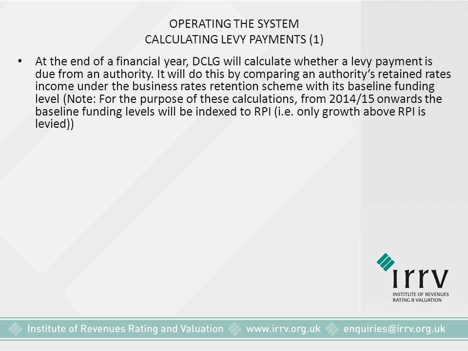 OPERATING THE SYSTEM CALCULATING LEVY PAYMENTS (1)