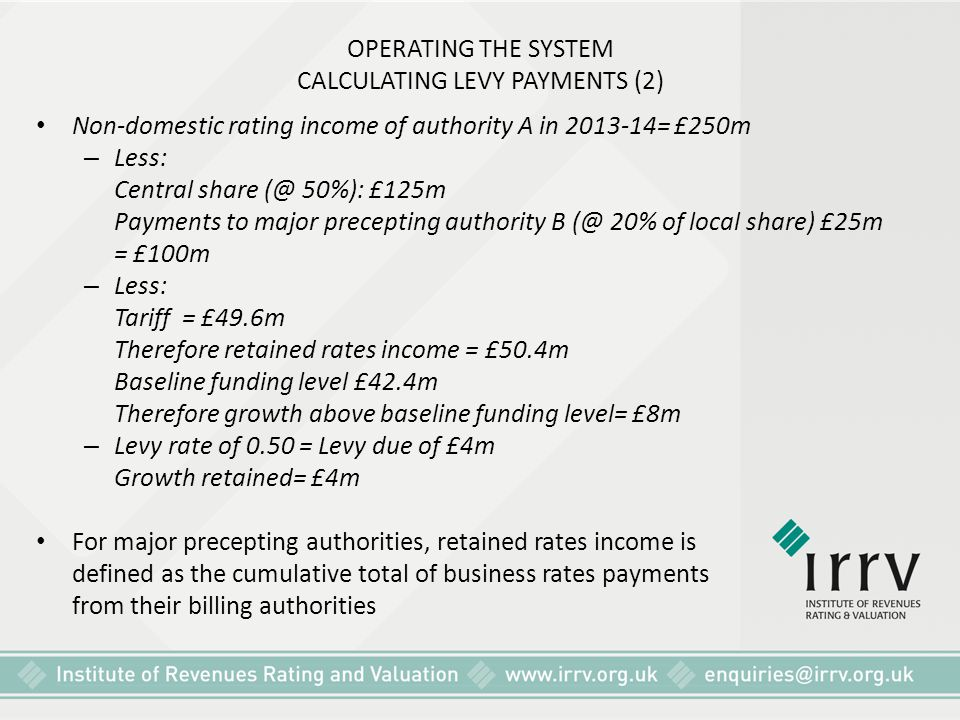 OPERATING THE SYSTEM CALCULATING LEVY PAYMENTS (2)