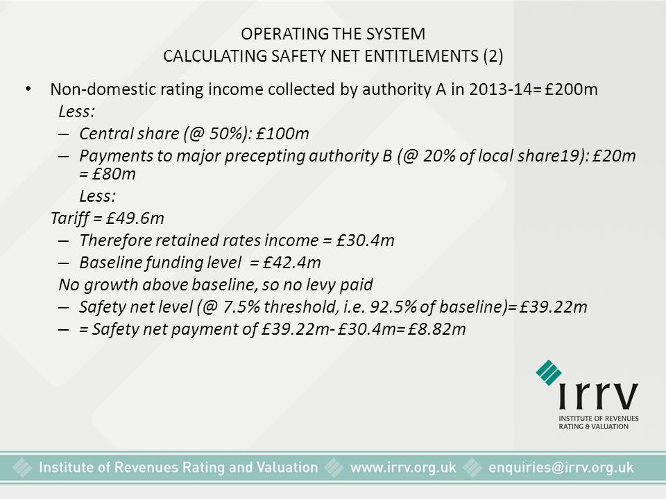 OPERATING THE SYSTEM CALCULATING SAFETY NET ENTITLEMENTS (2)