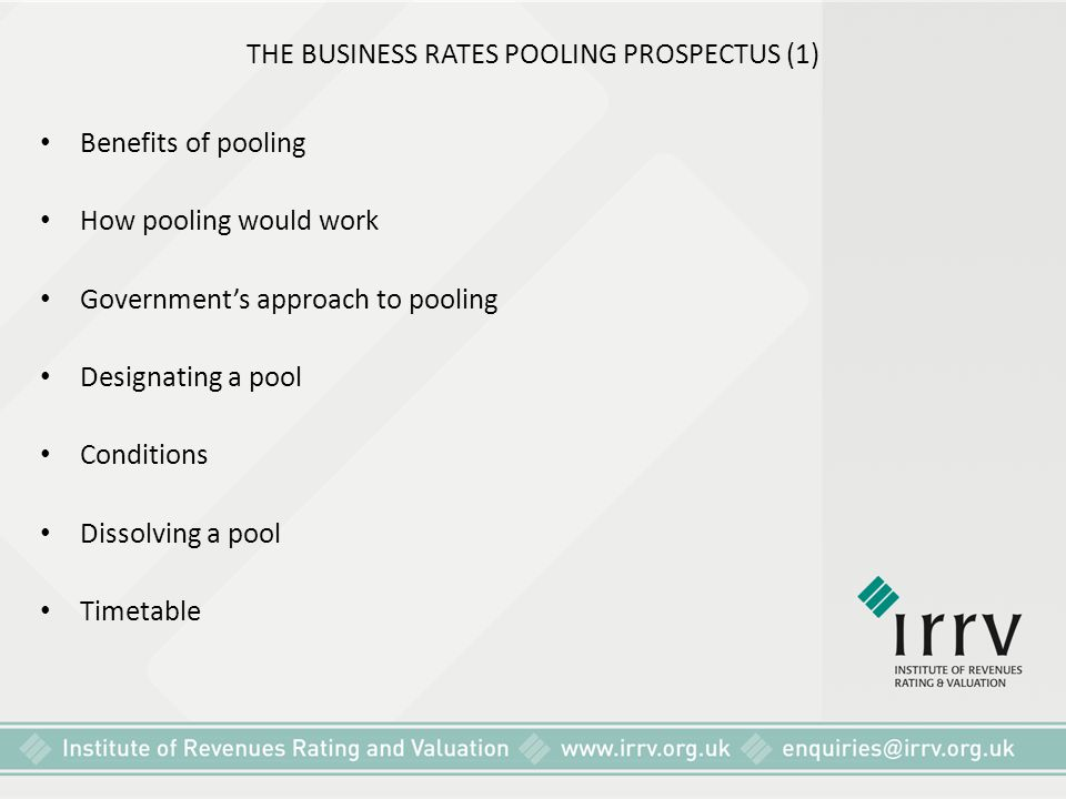 THE BUSINESS RATES POOLING PROSPECTUS (1)