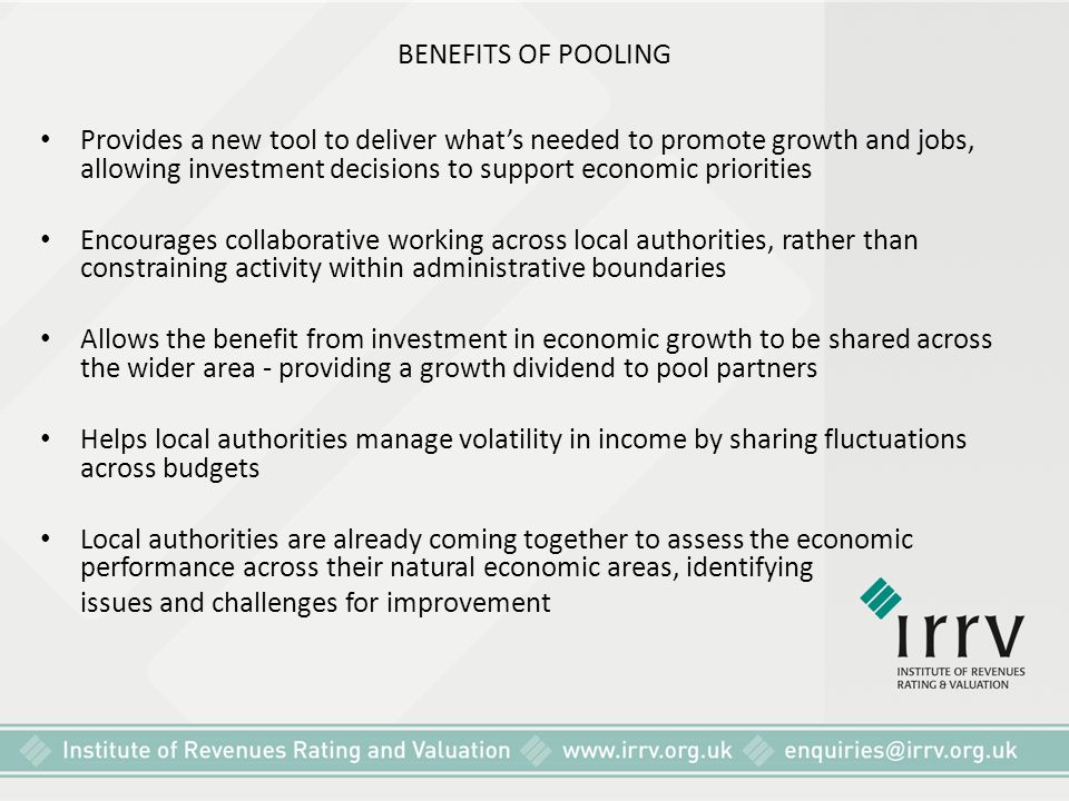 BENEFITS OF POOLING