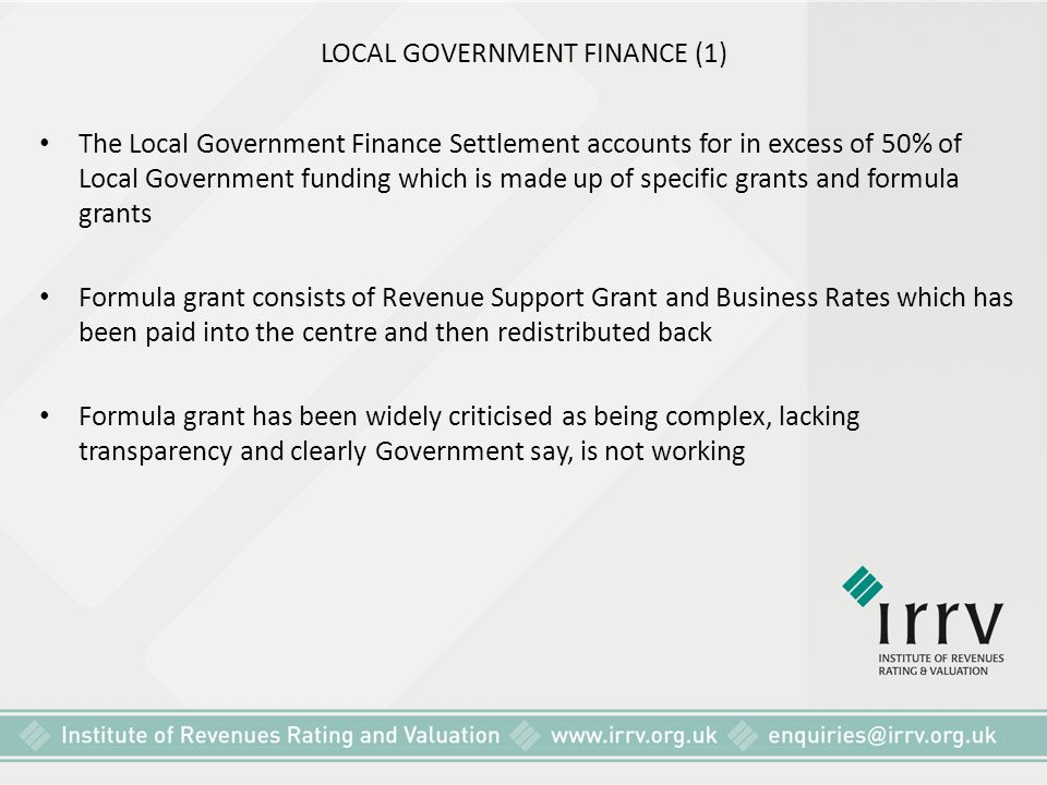 LOCAL GOVERNMENT FINANCE (1)