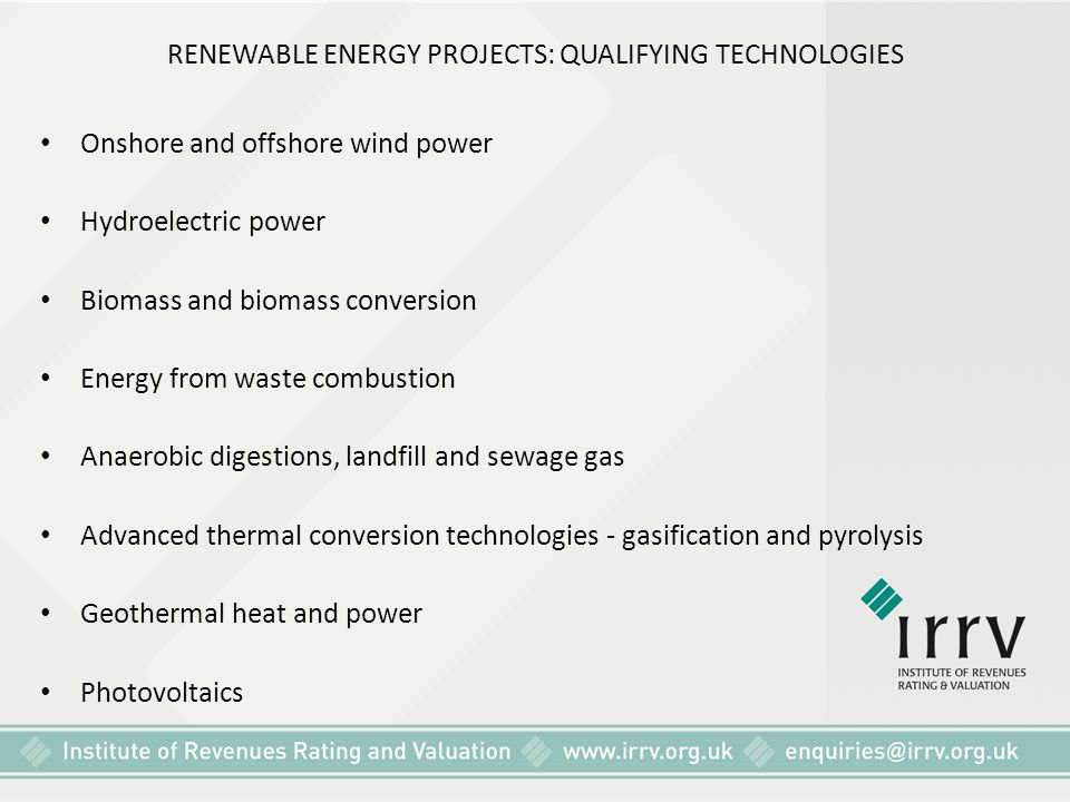 RENEWABLE ENERGY PROJECTS: QUALIFYING TECHNOLOGIES