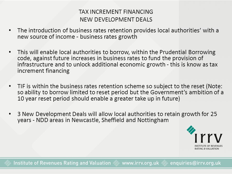 TAX INCREMENT FINANCING NEW DEVELOPMENT DEALS