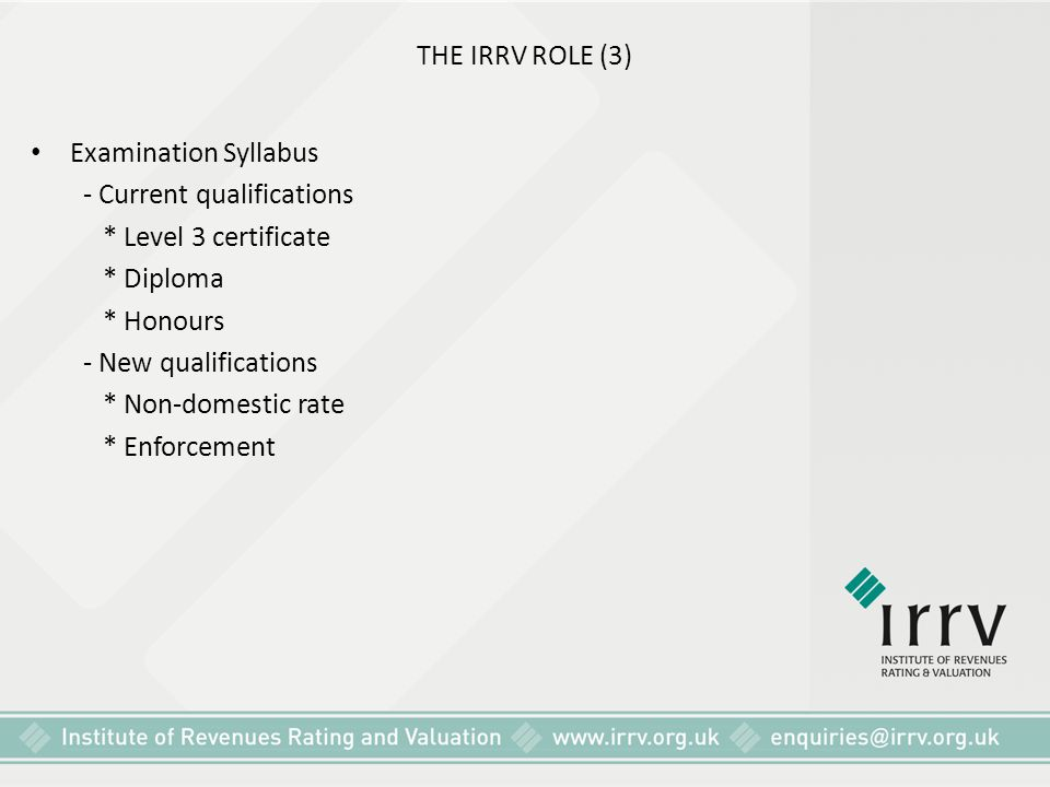 THE IRRV ROLE (3) Examination Syllabus. - Current qualifications. * Level 3 certificate. * Diploma.