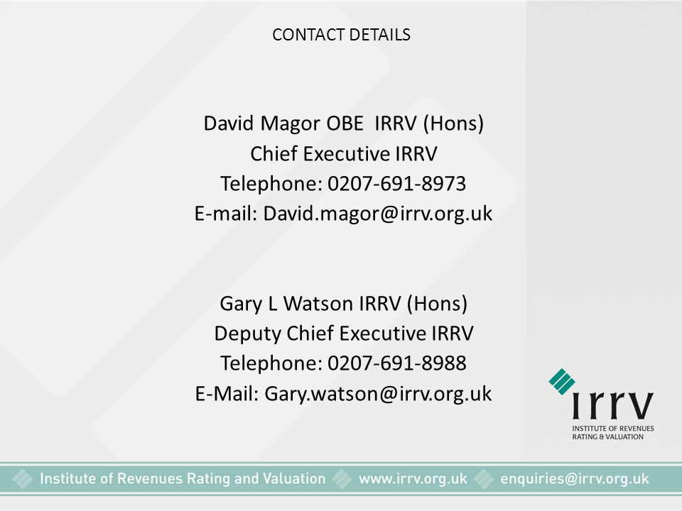 David Magor OBE IRRV (Hons) Chief Executive IRRV